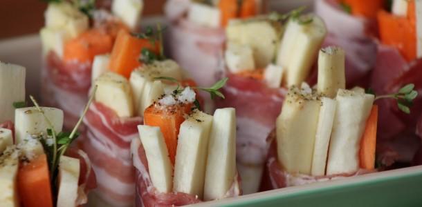Rodfrugter med timian og bacon (Salt, peber og lidt olie)