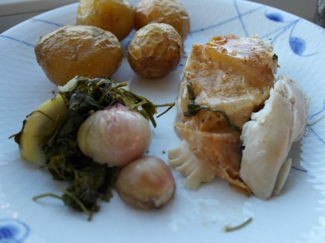 Fyldt kylling med kartofler