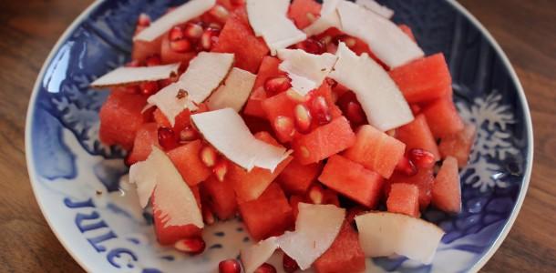 Vandmelon, granatæbler og kokos