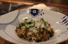 Risotto med svampe, parmesan og persille