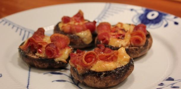 En lækker lille snack - fyldte svampe - Portobello
