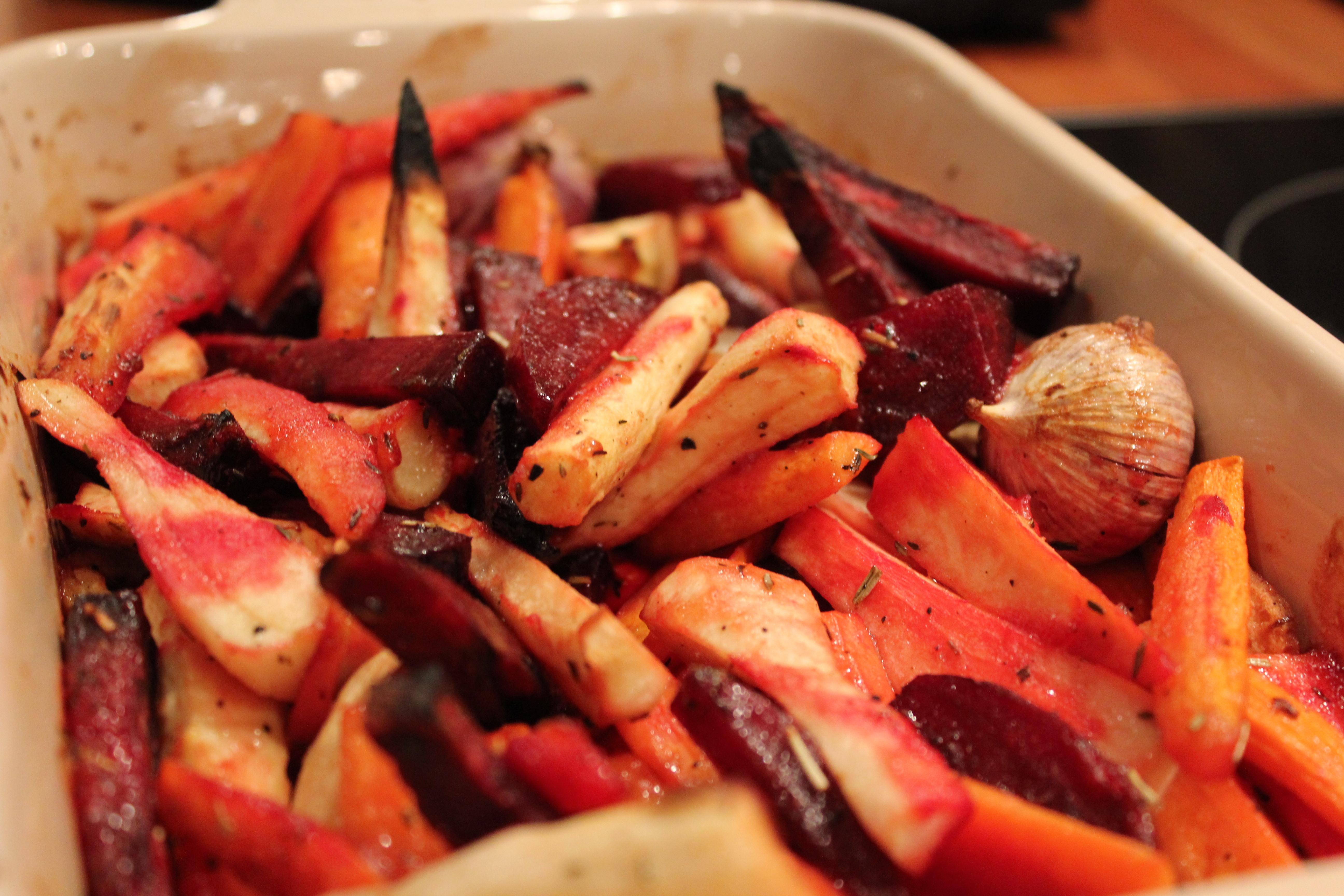 opskrift på rodfrugter i ovn