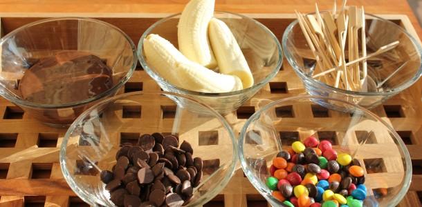 Banan pinde med chokoladeovertræk
