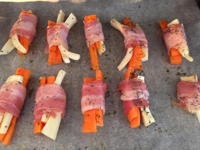 Rodfrugter med bacon