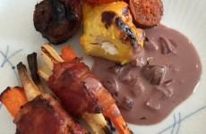 Safran kylling og bagte rodfrugter